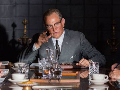 Woody Harrelson, como Lyndon B. Johnson en 'A la sombra de Kennedy'.