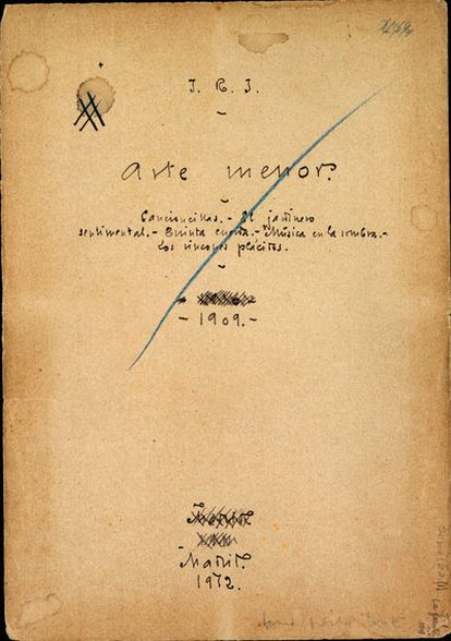 <i>Arte menor</i>. Manuscrito corregido por el poeta, de su boceto para la portada.