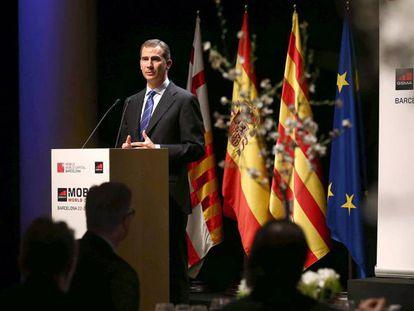 Felipe VI durante su discurso en el Mobile World Congress en Barcelona.