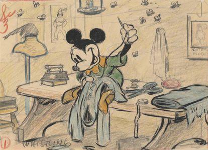 Dibujo de Mickey Mouse de 1938.