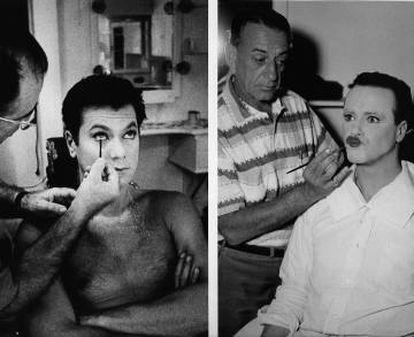 Curtis y Lemmon, en maquillaje.
