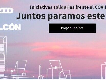 Página web del Ayuntamiento de Madrid 'Madrid sale al balcón', destinada a canalizar iniciativas vecinales frente a la crisis sanitaria del coronavirus