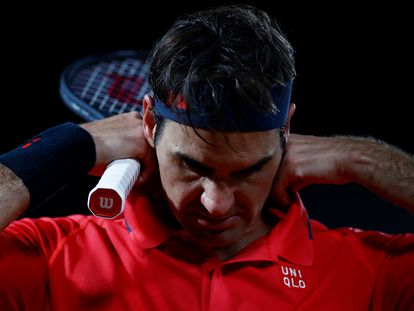 Federer, durante el partido de la tercera ronda contra Koepfer.