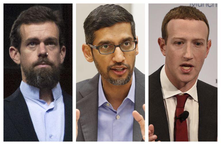 Desde la izquierda, Jack Dorsey cofundador de Twitter; Sundar Pichai, director ejecutivo de Google y Mark Zuckerberg, CEO de Facebook.