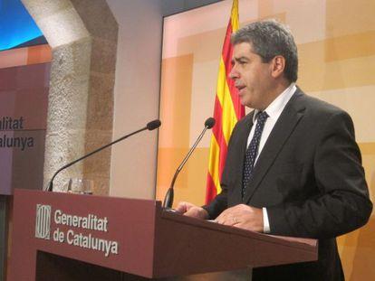 Francesc Homs, portavoz del Gobierno catalán, en un momento de la rueda de prensa.