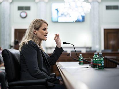 La exempleada de Facebook Frances Haugen, este martes en su comparecencia en el Congreso de EE UU.