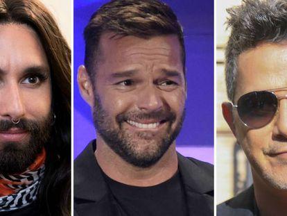 Conchita Wurst, Ricky Martin y Alejandro Sanz.