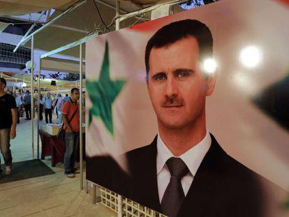 Imagen del presidente sirio, Bachar el Asad, en Damasco.