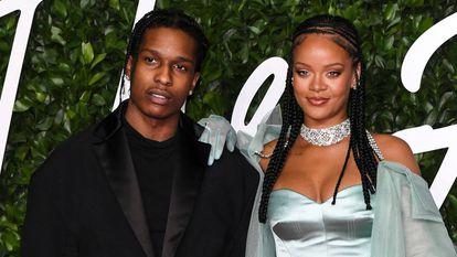 ASAP Rocky y Rihanna, en los premios de la moda británica, en diciembre de 2019.