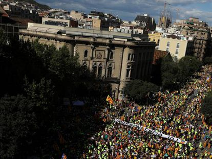 Manifestación de 'La Diada' en Barcelona, el pasado 11 de septiembre.