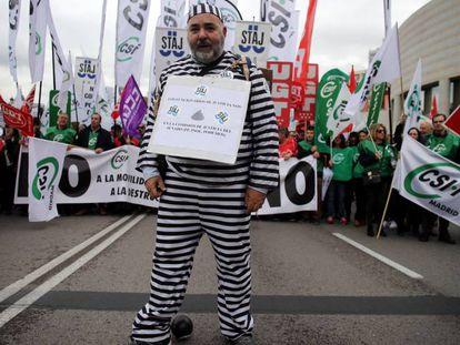 La manifestación de los funcionarios de Justicia en Madrid, este viernes.