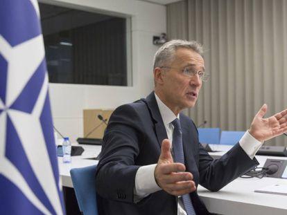 El secretario general de la OTAN, Jens Stoltenberg, durante la entrevista este martes en Bruselas.