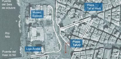 Mapa de la plaza Tahrir, en El Cairo (Egipto).