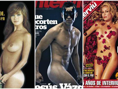 De izquierda a derecha, Marisol, Jesús Vázquez y Ana Obregón tal y como aparecieron en la portada de la revista 'Interviú'.