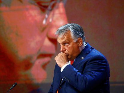 Viktor Orbán, durante una charla sobre Europa en tiempos de la covid, en Bled, Eslovenia, este lunes.