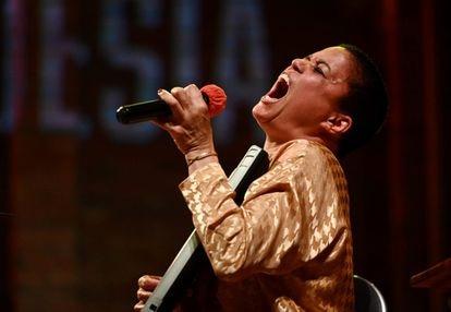 Blanca Haddad, durante su actuación en el festival Barcelona Poesia.
