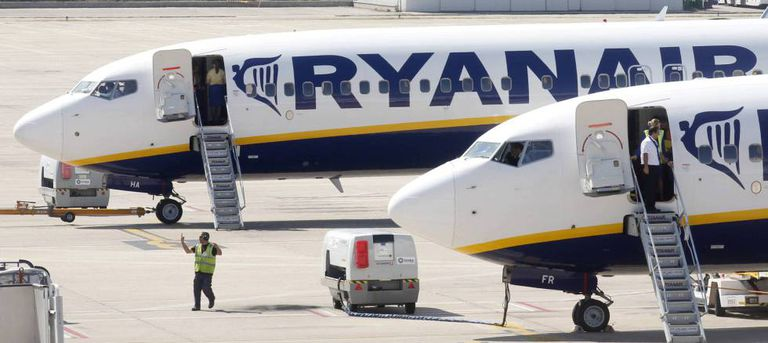 Aviones de Ryanair, en imagen de archivo, en el aeropuerto de Gerona.