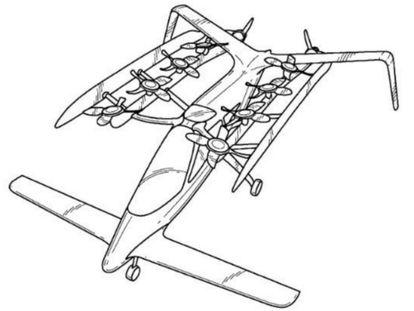 Uno de los modelos de coche volador patentado por Zee.Aero en 2013.