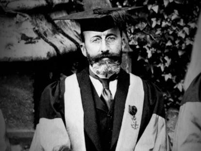 Ramón Menéndez Pidal, durante un viaje a Oxford.
