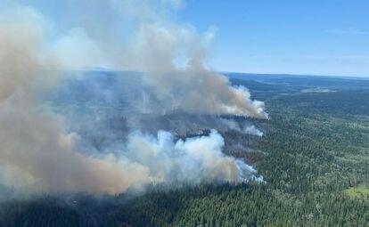 Un incendio en la Columbia Británica este viernes.