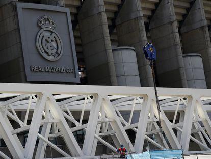 Estado de las reformas del estadio Santiago Bernabeu, en Madrid.