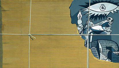 Reinterpretación del Guernica por el Equipo Crónica que puede verse en Caixaforum.