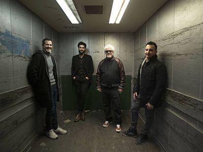Jose Mari Goenaga, Oliver Laxe, Pedro Almodóvar y Alejandro Amenábar, en Madrid.