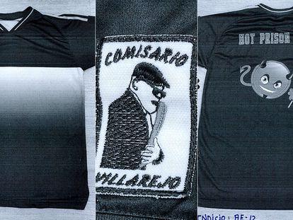 Imagen frontal y trasera de la camiseta que le intervienen a la trama de Villarejo, con el logotipo (centro) de la marca del comisario pegado en una manga.