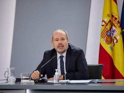 El ministro de Justicia, Juan Carlos Campo, durante su intervención en una rueda de prensa posterior al Consejo de Ministros del pasado 24 de noviembre.