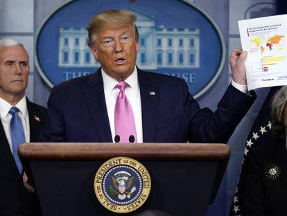 El presidente de EE UU, Donald Trump, durante la rueda de prensa de este miércoles. En vídeo, Trump defiende su gestión de la crisis del coronavirus.