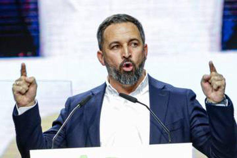 El presidente de VOX, Santiago Abascal, en la Asamblea del partido en el Palacio de Vistalegre el pasado 8 de marzo.