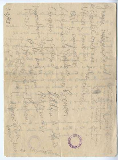 Notas que tomó Unamuno para la intervención el 12 de octubre de 1936.