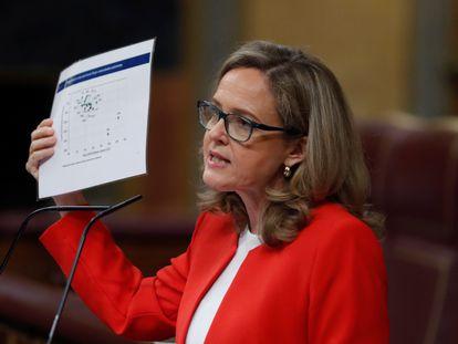 La vicepresidenta y ministra de Asuntos Económicos, Nadia Calviño, este jueves en el Congreso de los Diputados.