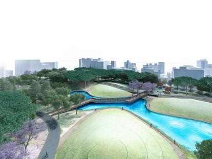 Recreación del futuro parque en los antiguos terrenos de Repsol en Málaga.