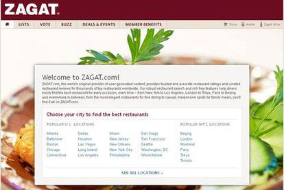 La web de Zagat, antes y después de ser comprada por Google.