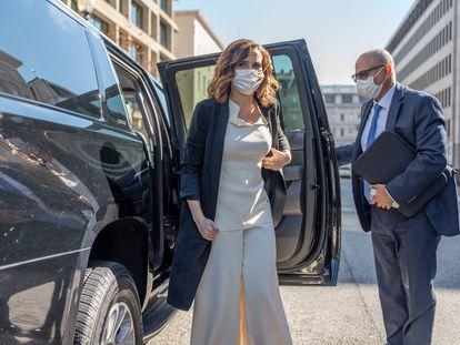 La presidenta de Madrid, a su llegada este miércoles a la sede de Council on Foreign Relations en Washington.