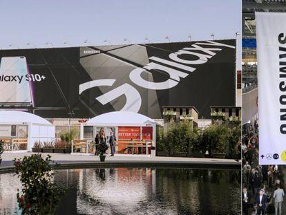 Cartel del Samsung Galaxy S10 en el MWC19 de Barcelona.
