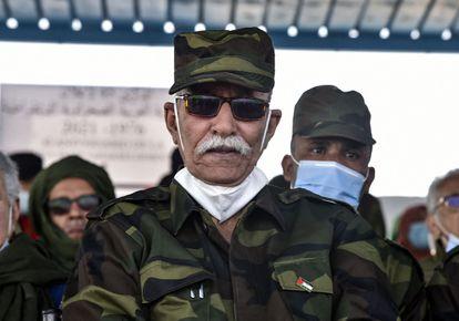 El líder del Frente Polisario, Brahim Gali, en los actos conmemorativos del 45 aniversario de la República Árabe Saharaui Democrática (RASD), en febrero.