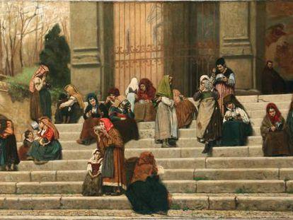 El óleo 'Pobres en la escalinata de San Gregorio al Celio', de 1892, obra de Federico Zandomeneghi.