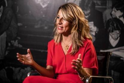 Yolanda Díaz, en un momento de la entrevista el viernes en EL PAÍS.
