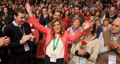 Susana Díaz, tras ser elegida secretaria general de los socialistas andaluces.