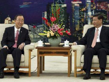 Ban Ki-moon habla con el vicepresidente chino.