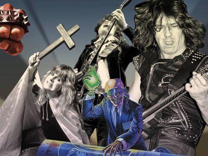 Montaje 'heavy' con imágenes de discos de Barón Rojo, Megadeth, y fotografías de Ozzy Osbourne, Angus Young y Gary Moore.