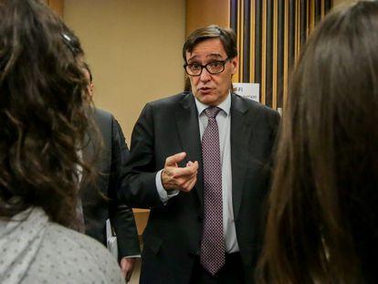 El ministro de Sanidad, Salvador Illa, durante una rueda de prensa para informar sobre el cambio de escenario por la epidemia de Covid-19.