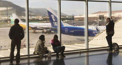 Viajeros en el Aeropuerto de Málaga.