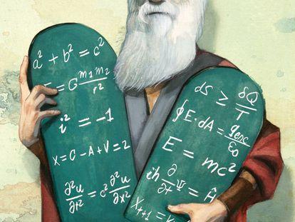 Darwin, como un nuevo Moisés, sostiene las tablas con ecuaciones de la historia de la ciencia.