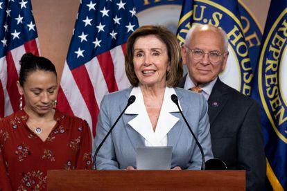 La presidenta de la Cámara de Representantes, la demócrata Nancy Pelosi, en una rueda de prensa en el Capitolio.