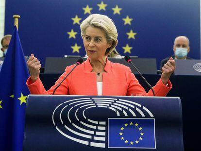 Ursula von der Leyen durante su discurso en el debate sobre el estado de la Unión en Estrasburgo.