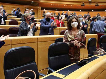 La ministra de Hacienda María Jesús Montero, la semana pasada en el Senado tras la aprobación de los Presupuestos.