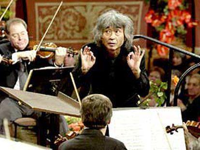 Uno de los gestos del director japonés Seiji Ozawa, durante el concierto de Año Nuevo en Viena.